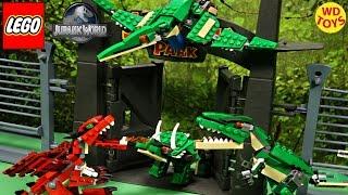 new lego creator mighty dinosaurs pterodactyl vs indominus rex jurassic world speed build unboxing