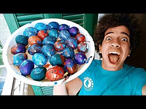 مقلب رميت بيض ملون على اصحابى من البلكونه!