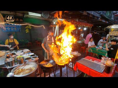 Bangkok CHINATOWN 2021 Vegetarian Festival Street Food 🇹🇭 Thailand 4K