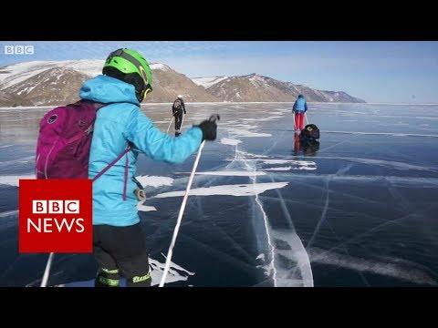 Skating Lake Baikal, the world's deepest lake - BBC News