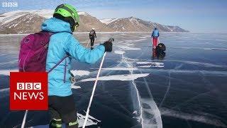 Skating Lake Baikal, the world&#39s deepest lake - BBC News