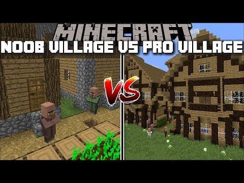 Minecraft NOOB VILLAGE VS PRO VILLAGE MOD / SAVE THE VILLAGE FROM A ZOMBIE ATTACK !! Minecraft thumbnail