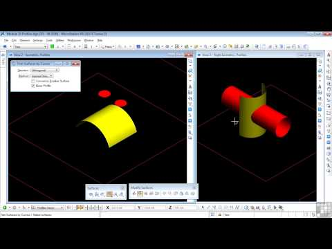 Bentley MicroStation V8i 3D Tutorial | Trim Surfaces By Curves