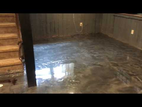 Metallic Titanium Gray Epoxy Floor Coating Basement Floor