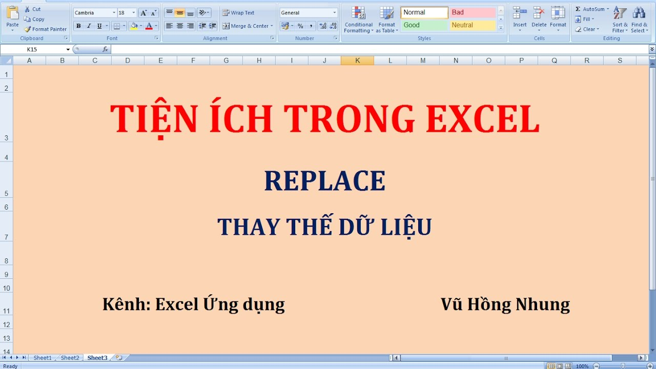 Replace thay thế dữ liệu trong Excel