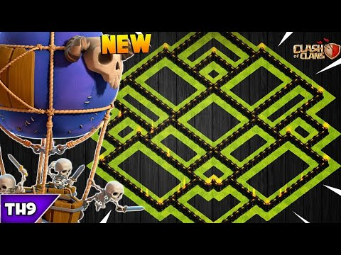 NEW TOWN HALL 9 FARMING/TROPHY BASE 2018!! TH9 HYBRID FARM BASE WITH REPLAYS!! - CLASH OF CLANS(COC)