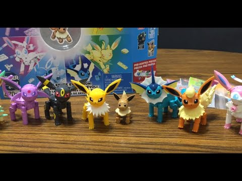 Mega Construx Pokemon EVERY EEVEE EVOLUTION set, UNBOXING with awesome STOP MOTION Speed build