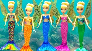 Little Mermaid Makeup Tinkerbell Mermaid Tail & Costumes Color Change Disney Princess DOLL Cosplay