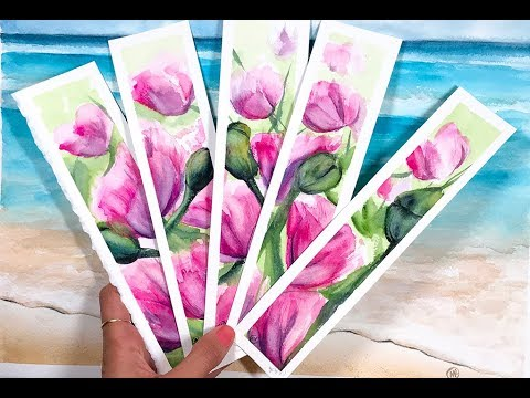 Mother's DAY Gift IDEA - Watercolor Tulips Bookmarks Painting Demo