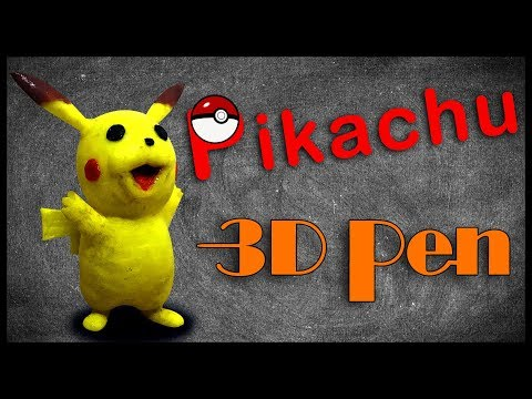 3D Pen Creation Pikachu, it is hard to make its mouth,Resin soft soil