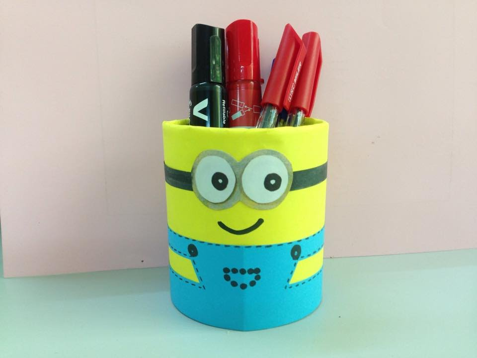 How To Make Minion Pencil Holder Easy Arts Crafts Diy School