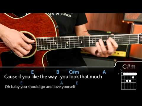 How to play love yourself chords for guitar tutorial