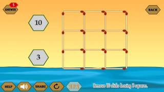 River Crossing IQ Logic 38 l Remove Sticks Leaving Squares