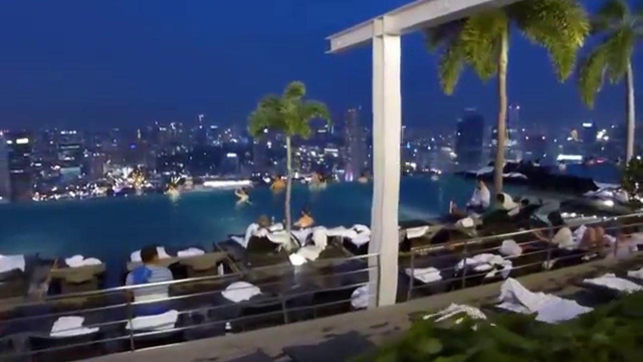 Singapore Marina Bay Sands SkyPark Infinity Pool at Night HD