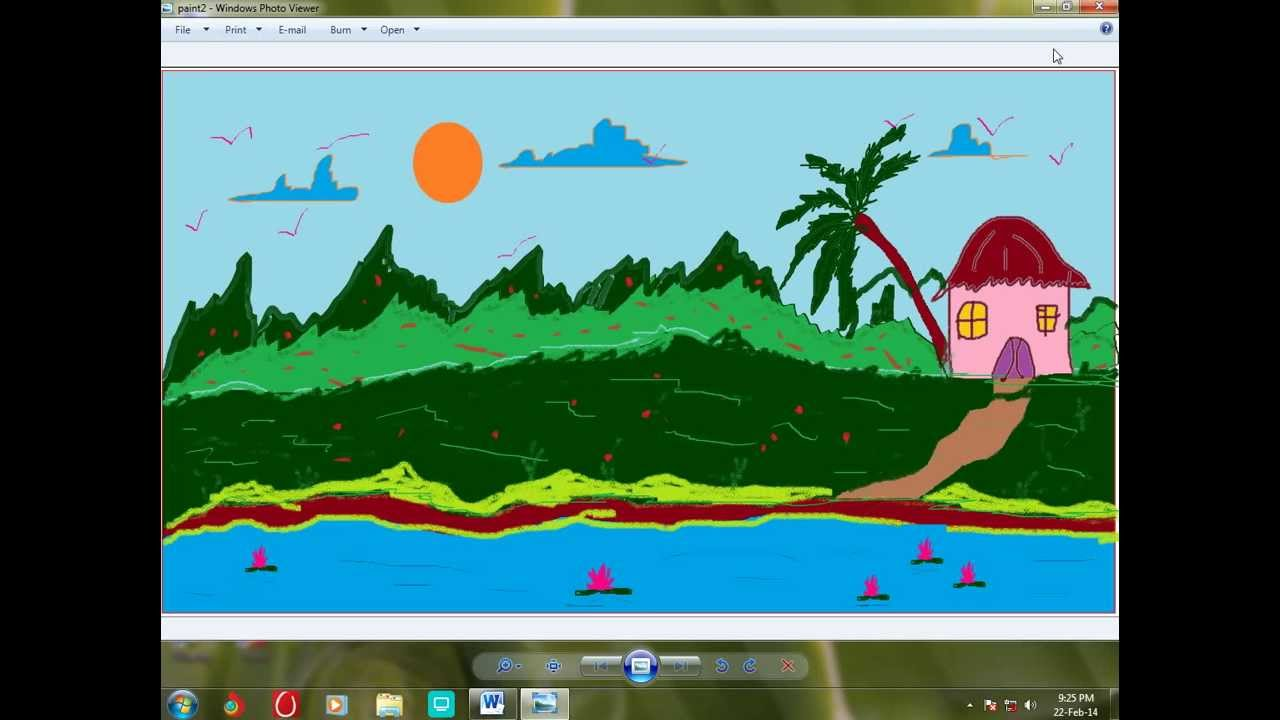 How To Draw a Scenery using Paint Brush in windows 7 - YouTube