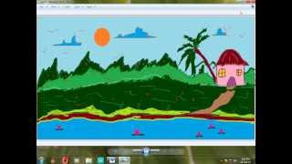 How To Draw a Scenery using Paint Brush in windows 7