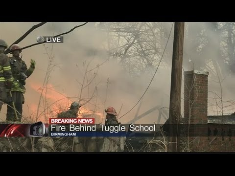 Large fire behind Tuggle Elementary School