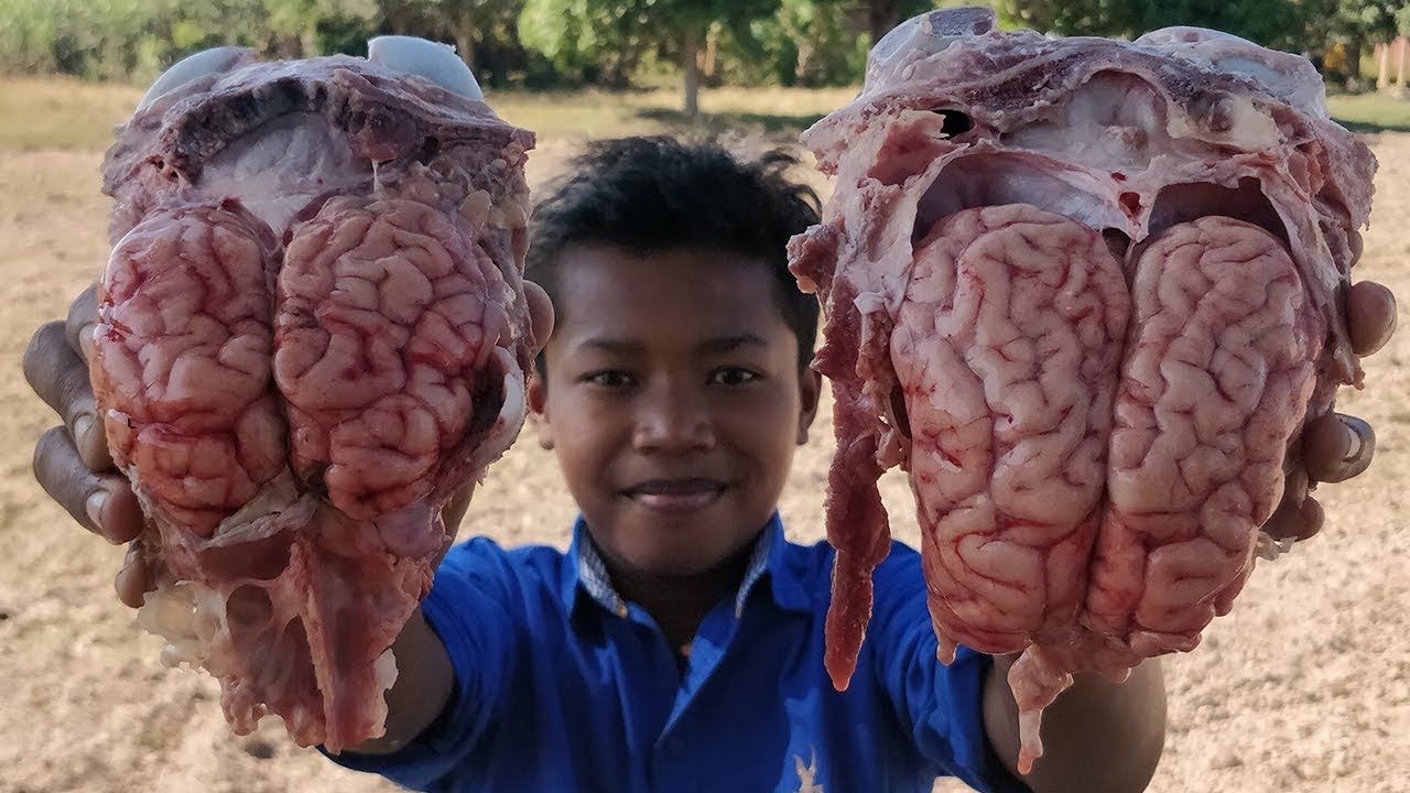Cow Brain Recipe / Delicious Cow Brain Stir Fry Young Green Pepper