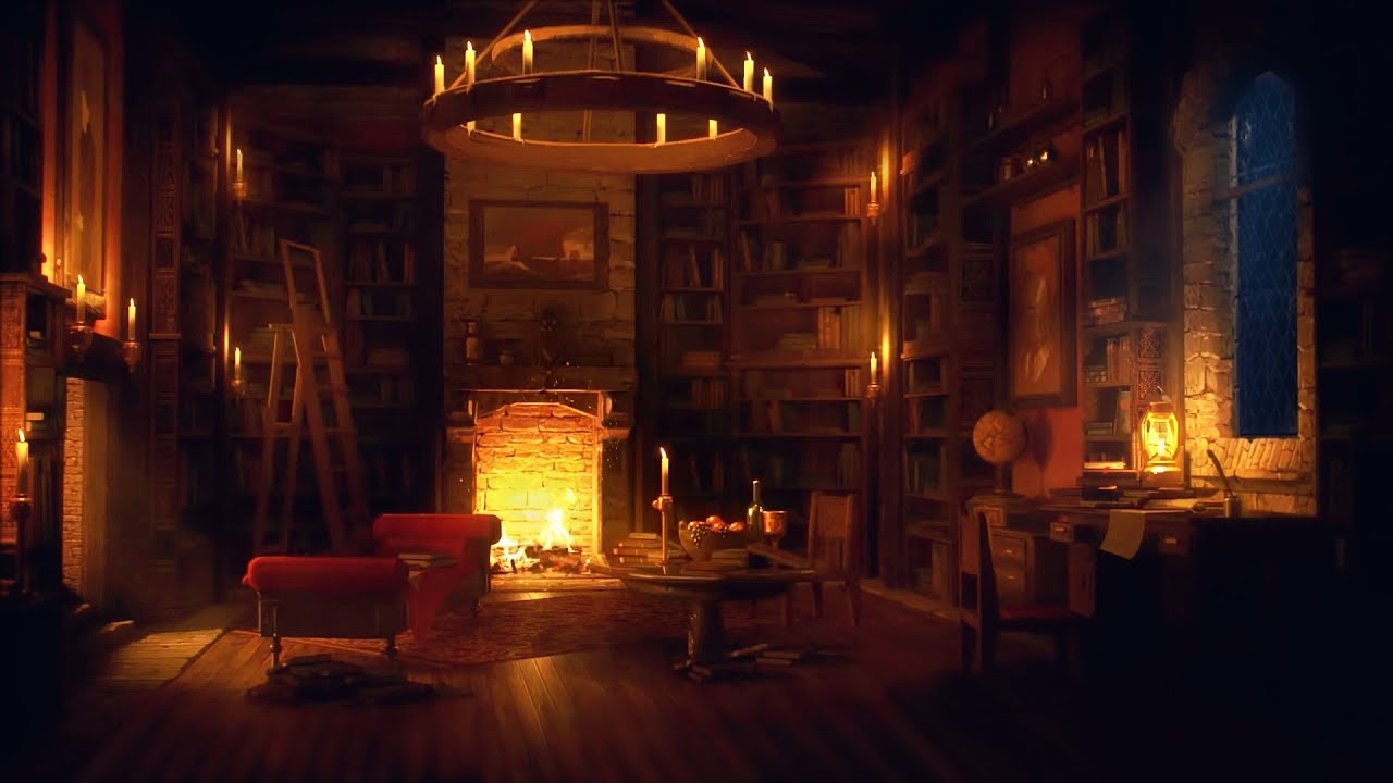 Ancient Library Room - Relaxing Thunder & Rain Sounds, Crackling Fireplace