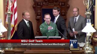Sen. Hildenbrand welcomes the MSU golf team to the Michigan Senate