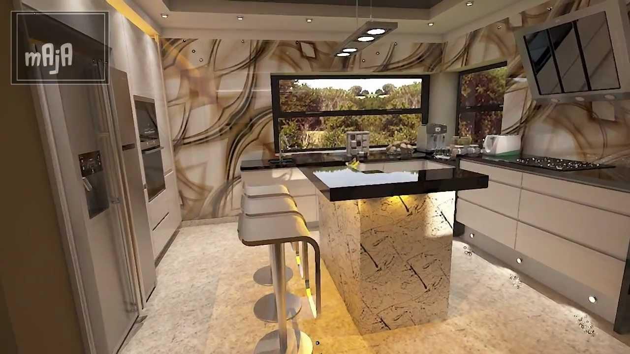 Design Wohnzimmer kombiniert mit Küche - YouTube