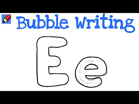how to draw bubble writing real easy letter e youtube