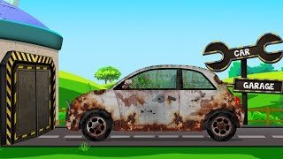 Compact Car | Rusty Garage | Car Garage | Trucks And Cars Video For Kids