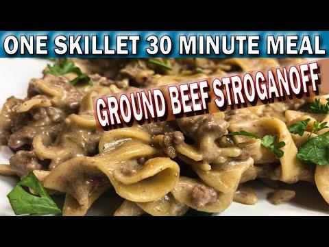 ONE SKILLET GROUND BEEF STROGANOFF 30 MINUTE MEAL | How to Cook Easy Ground Beef Stroganoff