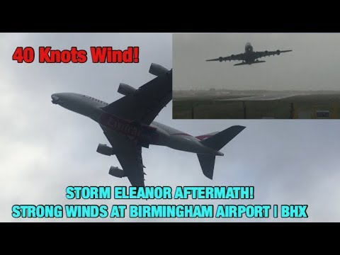 STORM ELEANOR | STRONG GUSTS AFFECTING Emirates A380 at Birmingham Airport | BHX | 35 - 45 knots