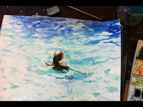 Speed Painting Watercolor : Swimming Girl