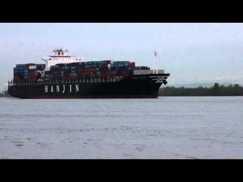 Foss Maritime & Shaver Tansportation Tugs Assist Hanjin Ottawa Into Port of Portland:4-3-14