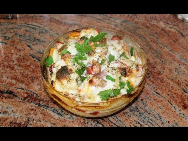 Карфиол на фурна с шунка, кашкавал и сос Бешамел, вкусотийка