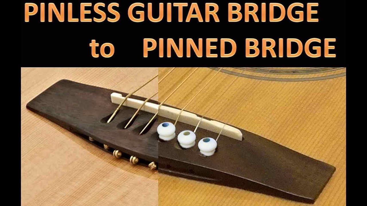 Pinless Guitar Bridge To Pinned Guitar Bridge Easy Lifted Bridge Repair Youtube