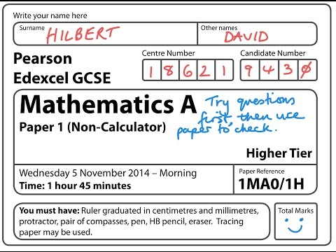 GCSE Maths Edexcel November 2014 Non Calculator (FULL PAPER)