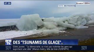 Entre le Canada et les États-Unis, des vagues de glace débordent d'un lac
