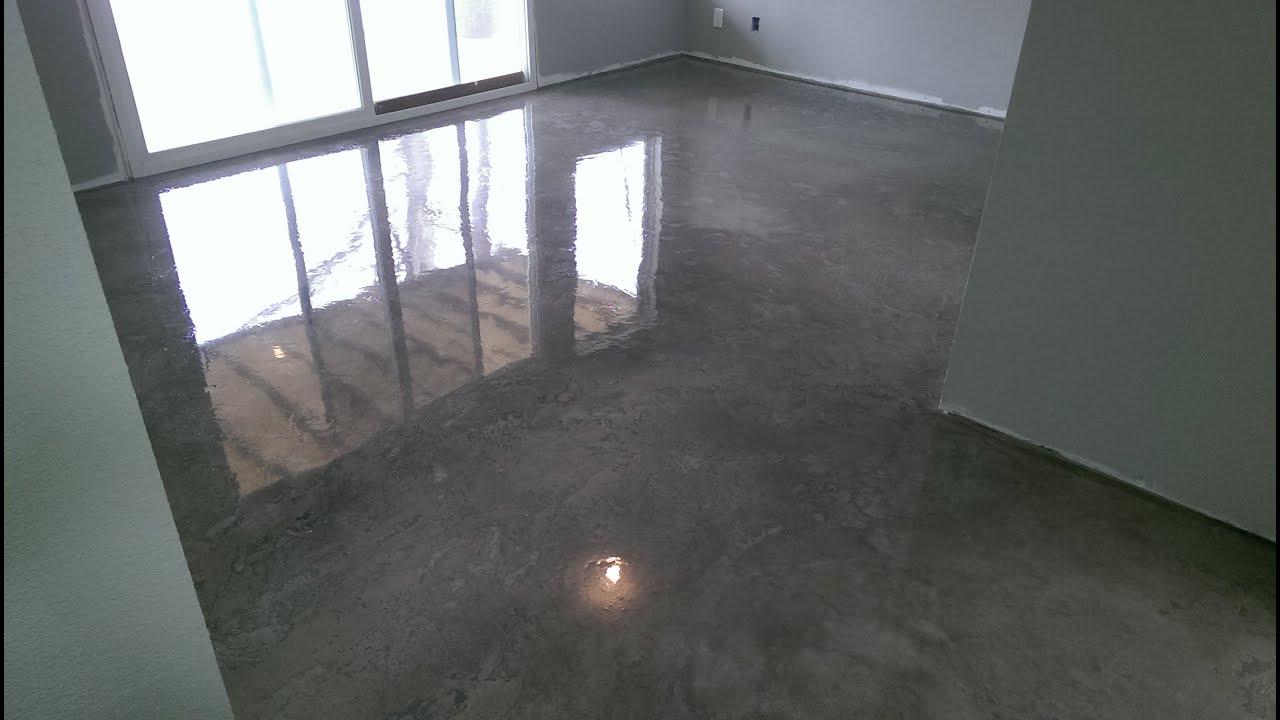 Decorative Concrete Basement Floor Osage Beach, MO Acid Stained W/ Epoxy  Finish   YouTube
