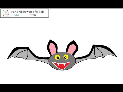How to draw a halloween bat for children / music for kids - YouTube