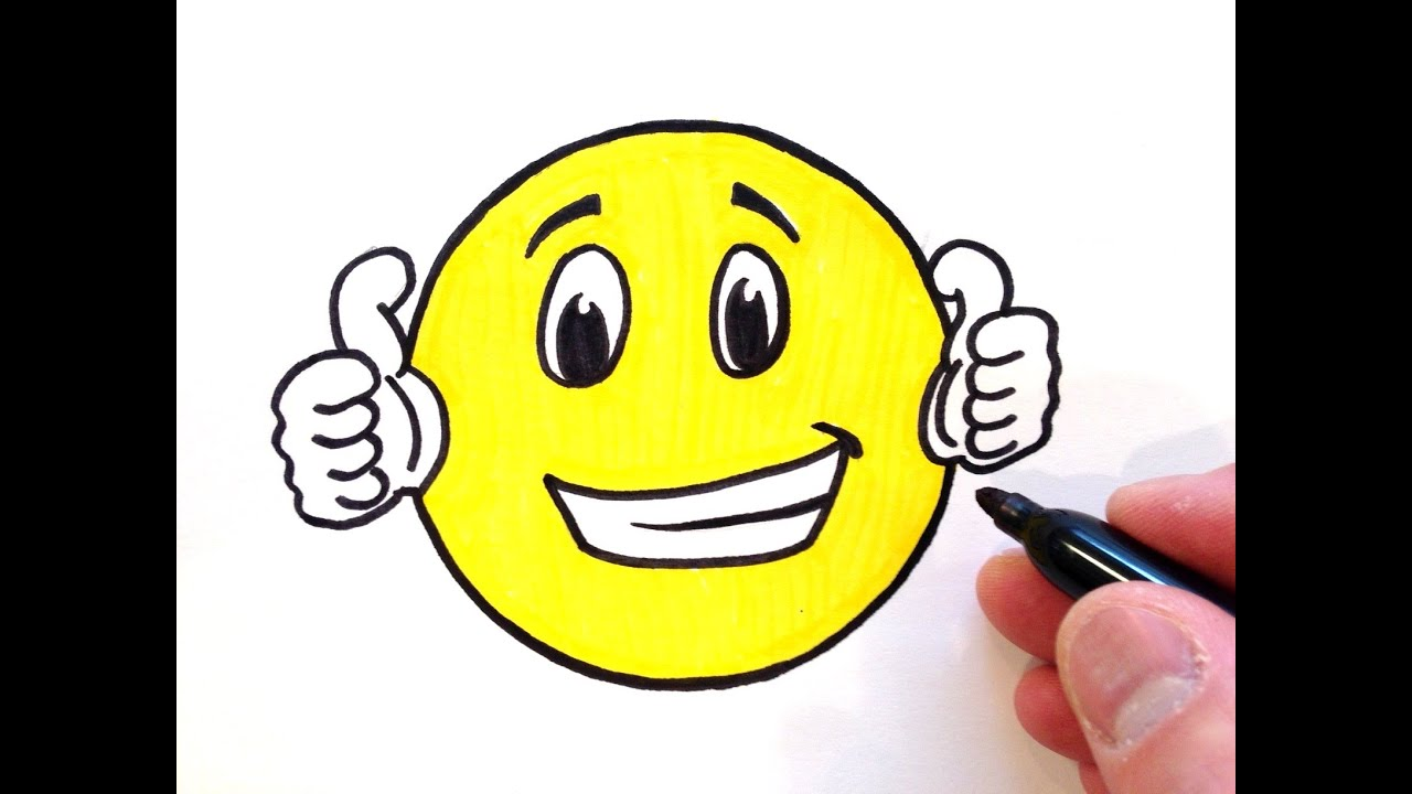How to Draw a Thumbs Up Smiley Face - YouTube