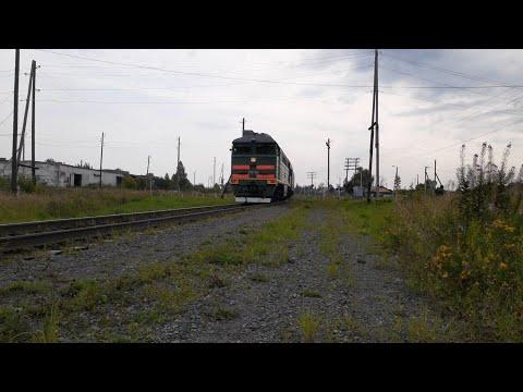 2ТЭ116-1649 секция Б с пригородным поездом Устье Аха-Тавда