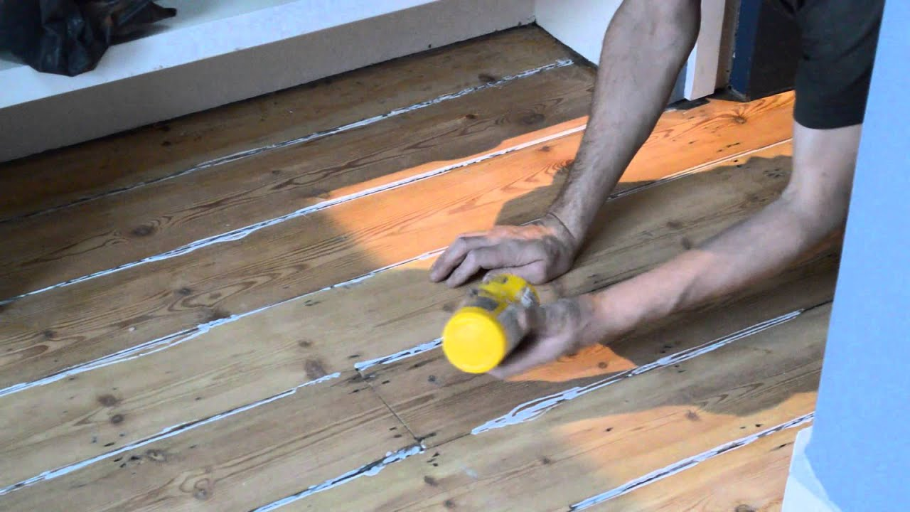 Floor Boards Gap Filling With Pine Slivers Uk Youtube