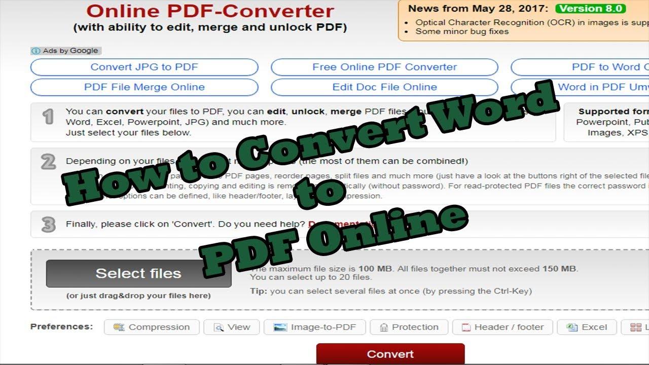 How to Convert Word to PDF Online using Online2PDFdotCOM|  PDFConverterTutorials