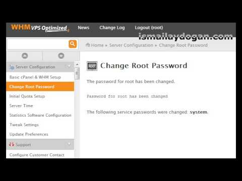 how to change password for whm root account