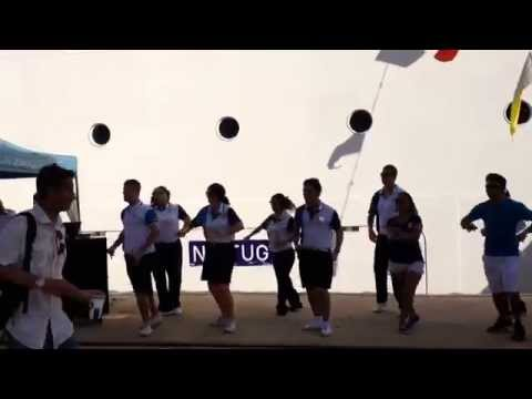 #NCL #Epic entertainment team dancing in #Palma #port. #Mallorca Private #Tour #Guides