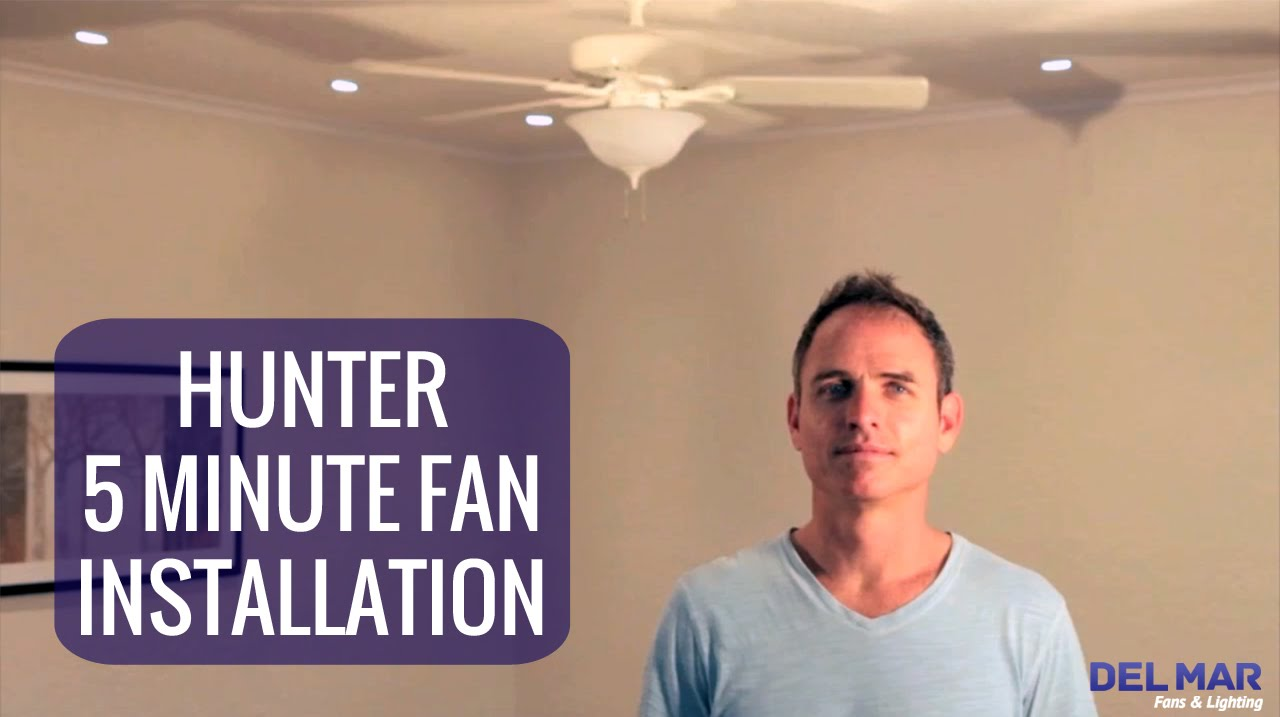 Hunter Five Minute Ceiling Fan Installation Youtube White Low Profile 42 Wiring Diagram Model