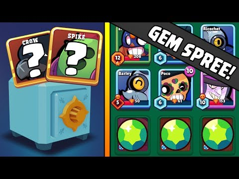 WILL I GET A LEGENDARY CROW OR SPIKE? :: Brawl Stars :: MASS GEMMING SPREE ON BOX OPENING!