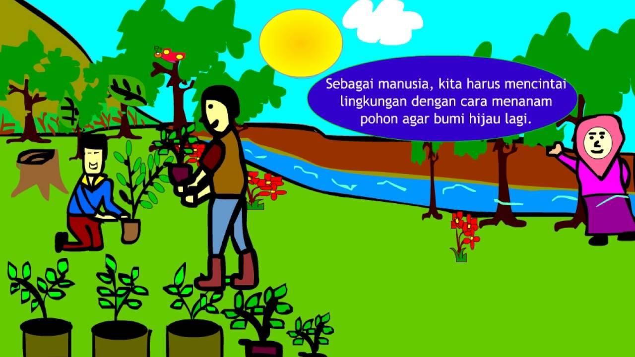 Gambar Ilustrasi Orang Menanam Pohon