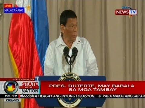 SONA: Pres. Duterte, may babala sa mga tambay
