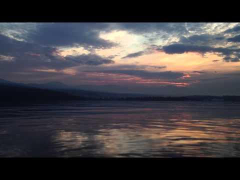Sunset on the River Derwent from Rose Bay, near Hobart, Tasmania.