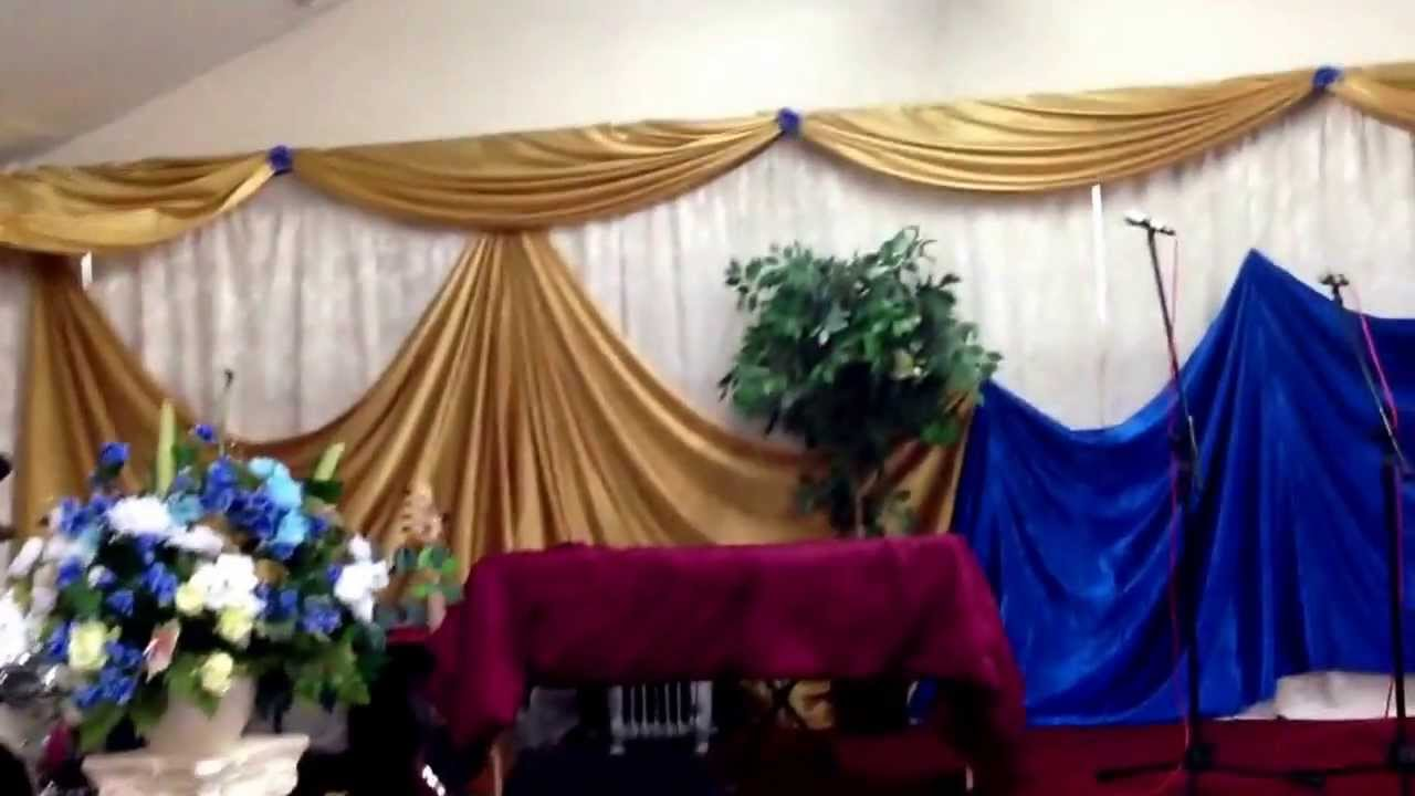 Church decor full wall draping youtube for Backdrop decoration for church