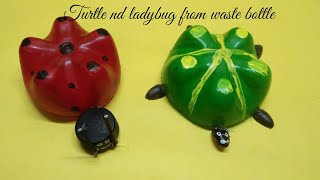 How to make turtle and ladybug from waste bottle#waste bottle craft#